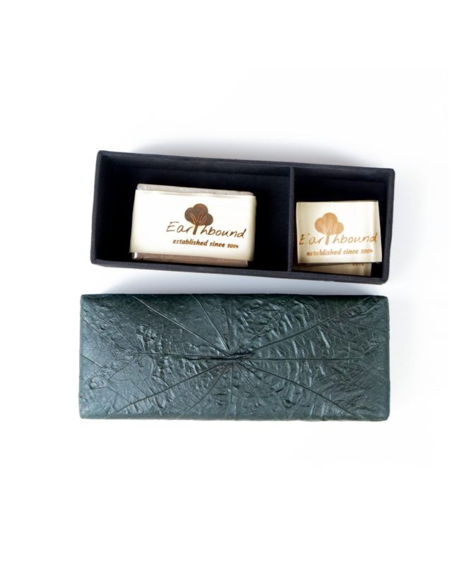 Earthbound Banana Sheaf Palm Leaf Box Collection (Earthbound Natural Herbal Soap & Jasmine Rice Milk Bath Gel)