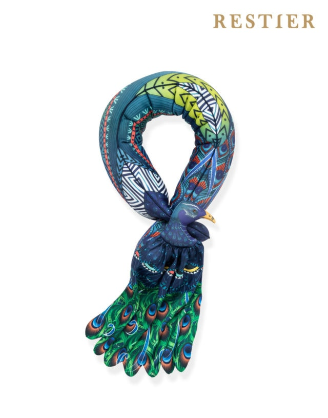 Scarf Pillow Muticus Peacock