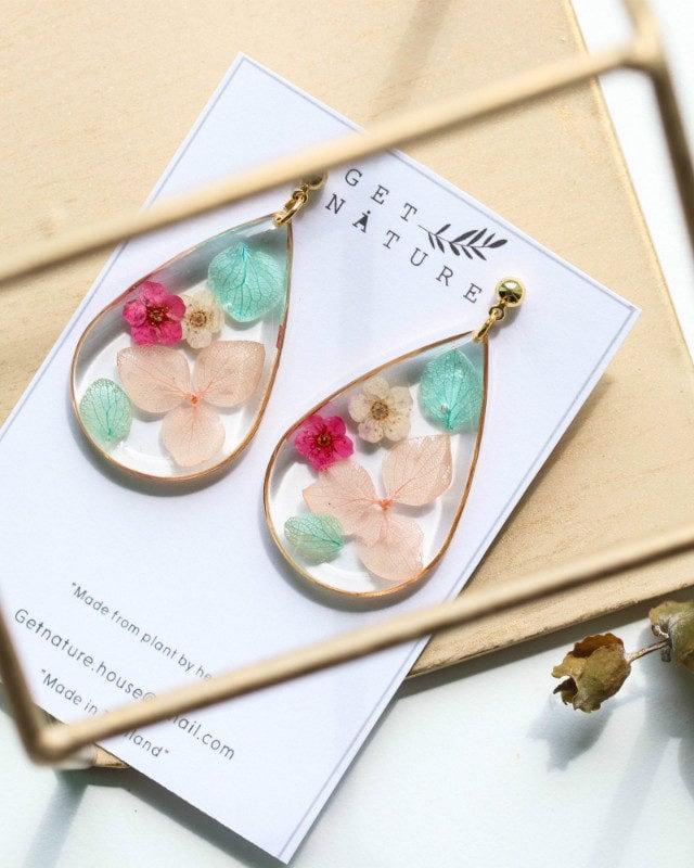 Earrings Droplet Mix Flowers
