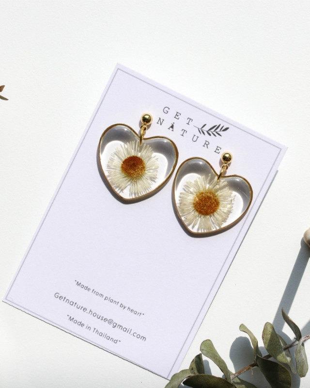 Earrings Heart Daisy Flower