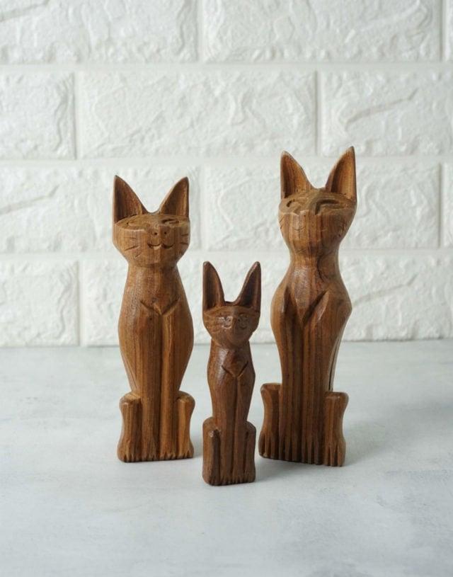 Teak Wooden Cat Carving