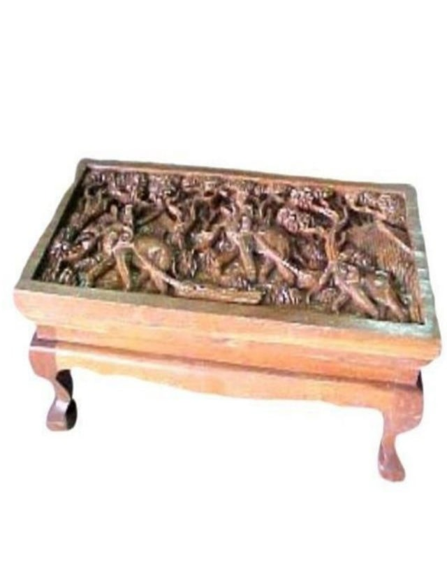Teak Elephant Carving Table