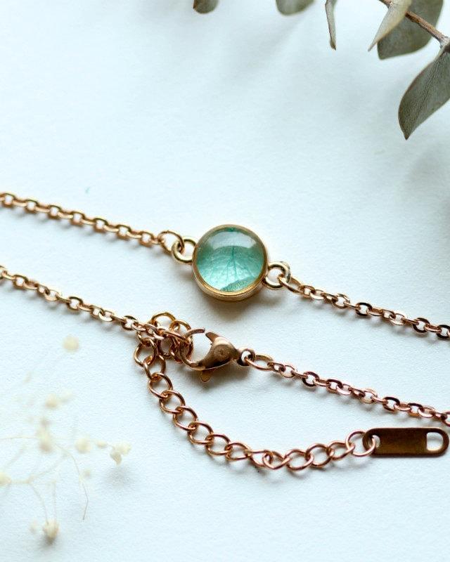 Bracelet Blue Hydrangea 5 mm Rosegold