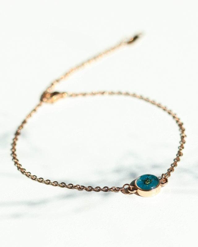 Bracelet Blue Plum 5 mm Rose Gold