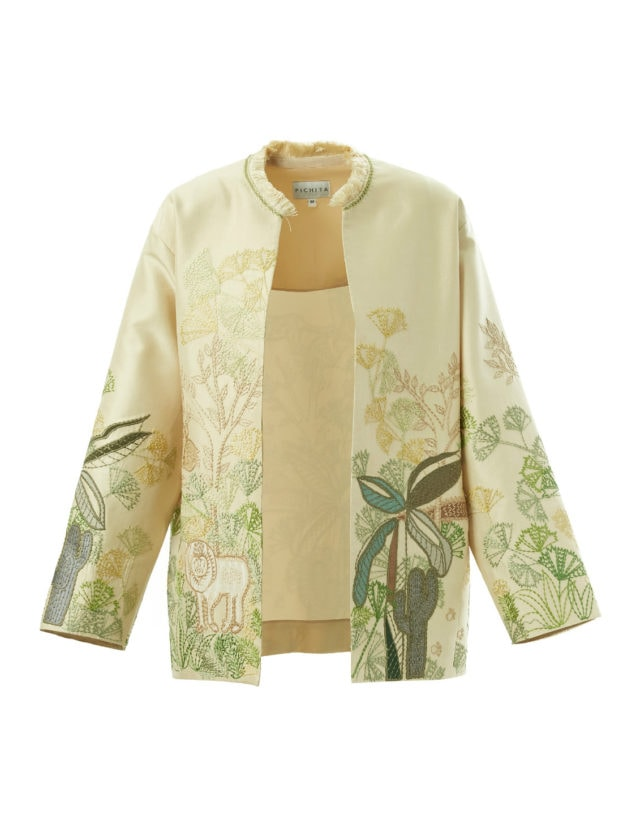 Beige hand embroidered open jacket
