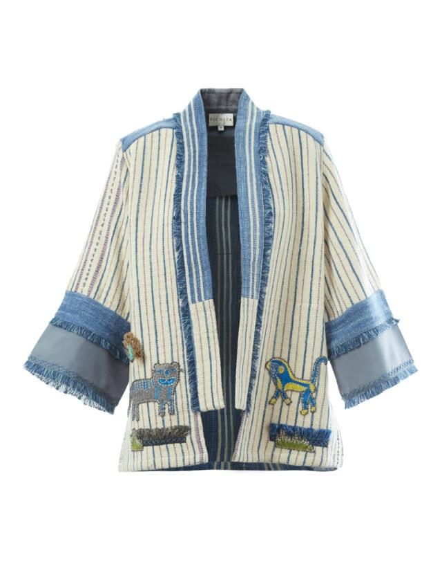 Emboidered open kimono