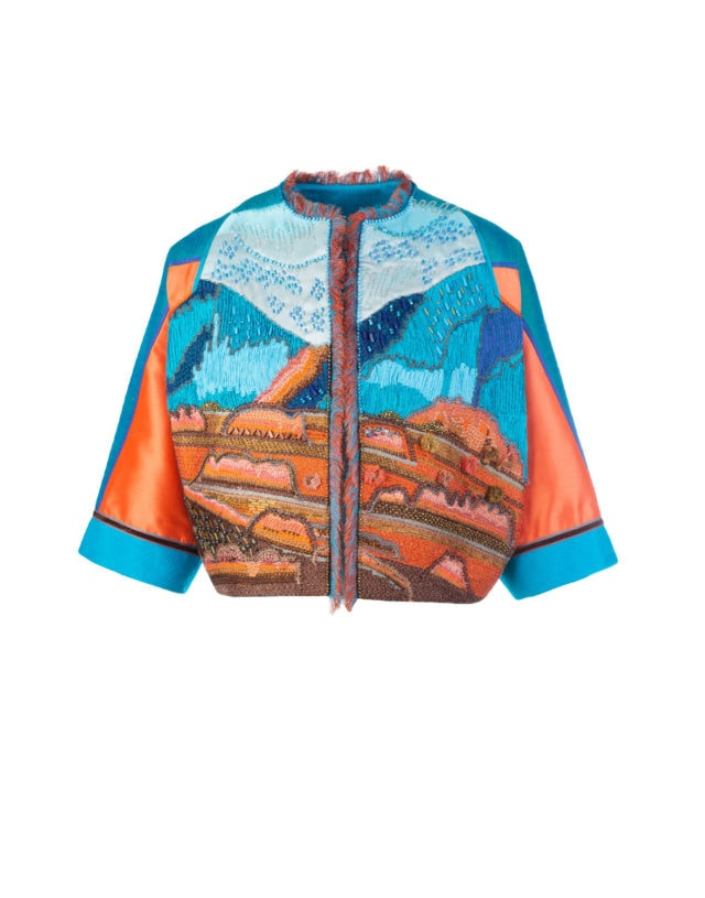 Hand embroidered over the hills cropped jacket