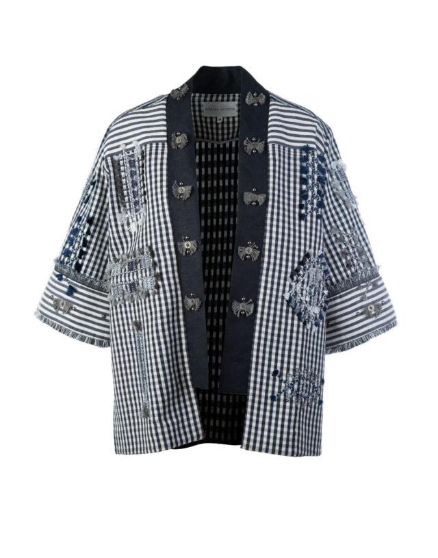 Hemp Linen black_white checked Haori Jacket