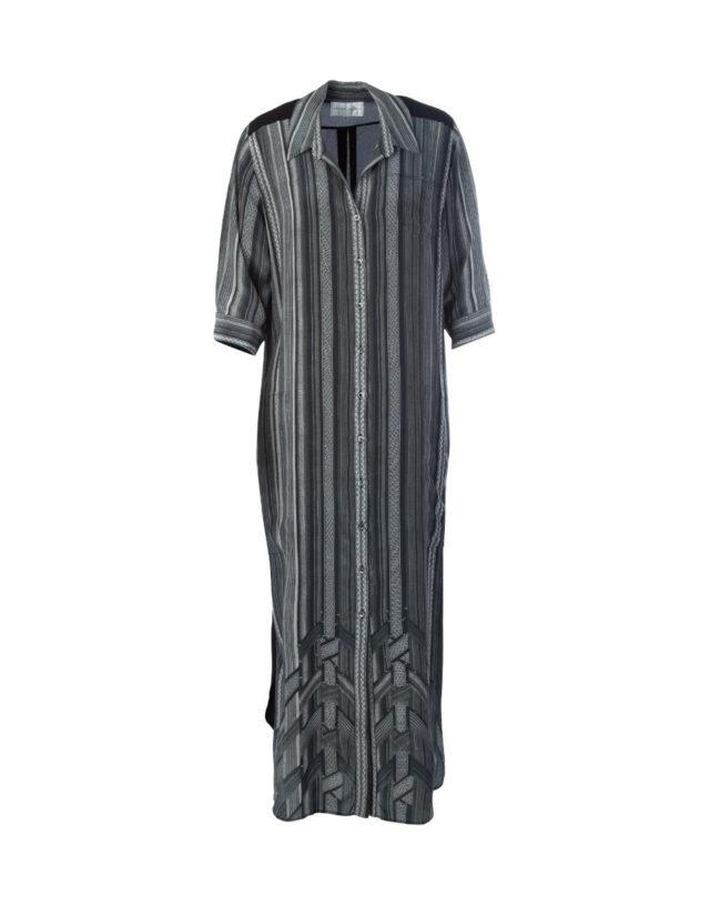 Issan Graphic Print Maxi Shirt Dress