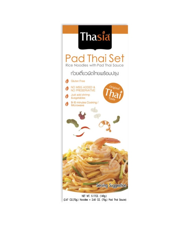 Thasia's Pad Thai offers a new experience from pan to table. Our Pad Thai noodle set is the perfect portion of rice noodles & Pad Thai Sauce. Add additional fresh ingredient as suggested on the box. Scan the QR code for VDO and more information.