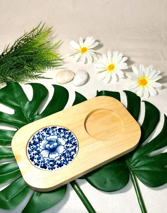 Wood Tray with Antique Painting Tile