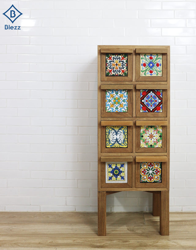 Wooden Cabinet Drawer with Classic Tile